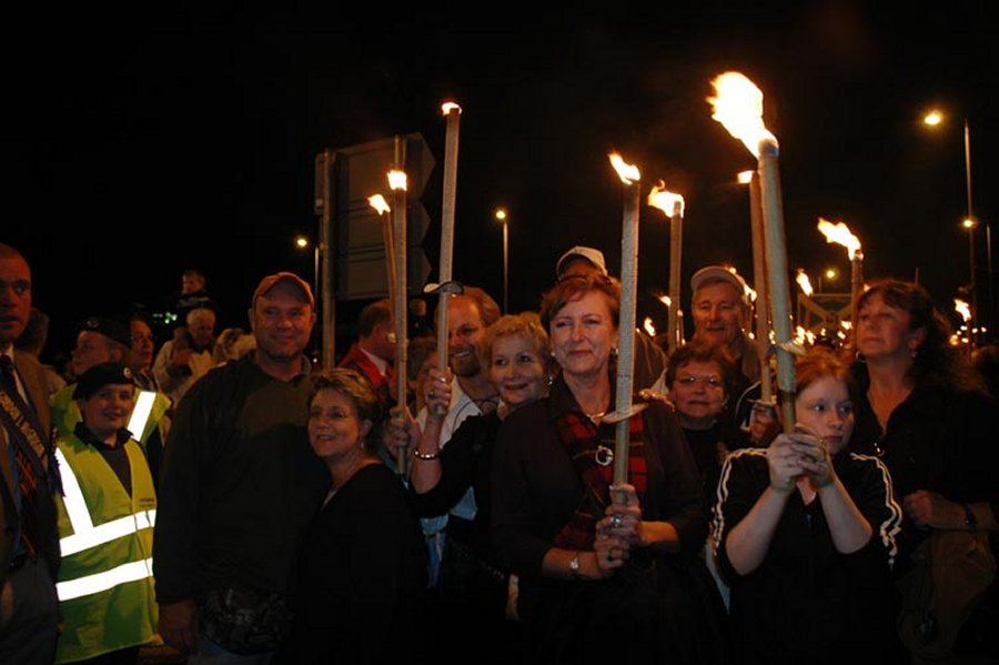 The torchlit procession begins